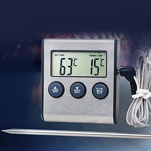 ONEVER Thermomètre à sonde numérique pour four et viande - Minuteur pour barbecue - Grill - Cuisson de viande