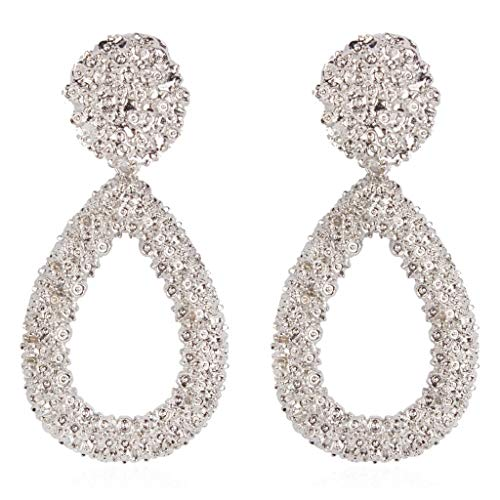 Minshao - Pendientes de moda para mujer, estilo europeo y americano, estilo salvaje plateado plata