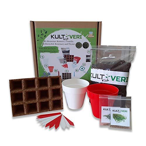 KULTIVERI Set de culture Bien-être de Romarin et de Thym 18 pièces : gravier de germination et 2 pots modernes Le set crée le potager dans votre cuisine.