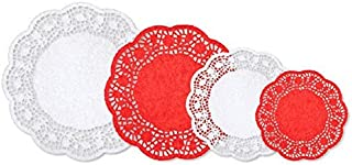 amscan Festive Christmas Red and White Paper Doilies, 40 Ct. | Party Decoration