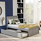 Twin Bed Frame with Trundle, Kids Platform Twin Bed with Pull Out Trundle,Solid Wood, No Box Spring Needed