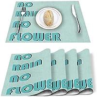 プレースマット標準サイズ、雨なし花の見積もりなしプレースマット汚れに強い滑り止めウォッシャブルテーブルマット、12x18インチキッチン/ダイニングテーブル用の4つのプレースマットのパック