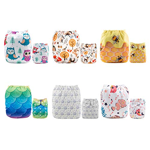 ALVABABY Baby Cloth Diapers One Size Adjustable Washable Reusable for Baby Girls and Boys 6 Pack + 12 Inserts 6DM54