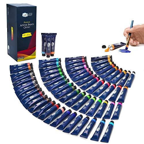 Artina Acrylfarben Set Crylic 60 Tuben je 22ml Künstlerfarben Malerei Acryl Farben Set - Premium Acryl Farbenset für Malen auf Keilrahmen