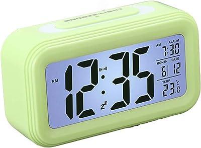 WPY Reloj Despertador Digital de Pantalla Grande Reloj de cabecera LED Función de repetición Ajuste Simple