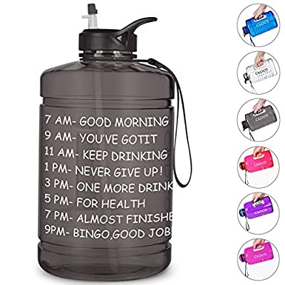 Opard Gallon Water Bottle with Time Marker Straw and Handle 128oz 1 Gallon Water Jug BPA Free Motivational Big Large Sports Water Bottle for Gym Fitness (Black - Small Handle)