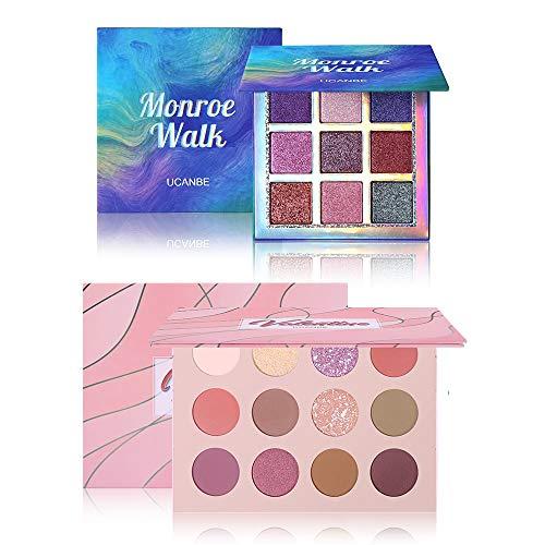 Charmcode Vibrant Colors Eyeshadow Palette Set, Korean Style 12 Colors Valentine & 9 Shimmer Monroe Walk Blendable Eyeshadow Powder Palette,Waterproof Long Lasting Eye Shadow Makeup Palette Kit