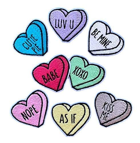 Embroidered safety Felt Conversation Valentine Heart On Patch - Popular product Or Iron