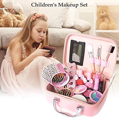 Kit de maquillaje para niños para niñas, juego de maquillaje de cosméticos para niños real con bolsa de cosméticos, maquillaje de juego lavable para niñas pequeñas
