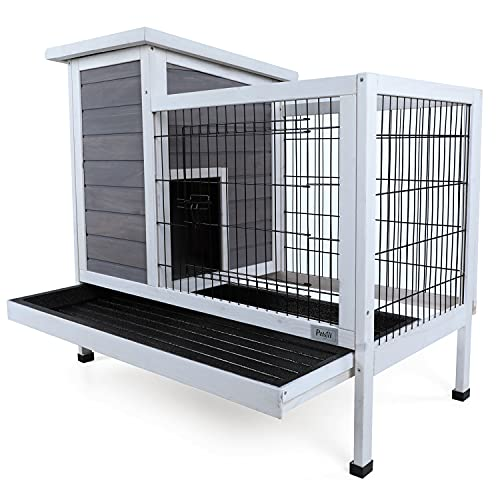 Petsfit Wood Rabbit Cage with Deeper Removable Tray, 1-Year Warranty