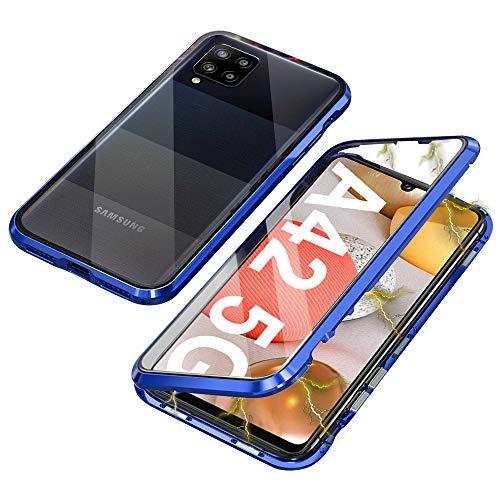Ellmi Funda para Samsung Galaxy A42 5G, Adsorción Magnética Parachoques de Metal con 360 Grados Protección Case Cover Transparente Ambos Lados Vidrio Templado Cubierta (Azul)