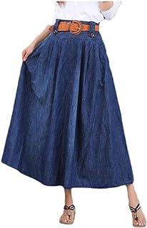 neveraway Womens Denim Skinny Accordion Pleated Skirt Relaxed Plus Size Maxi Skirt