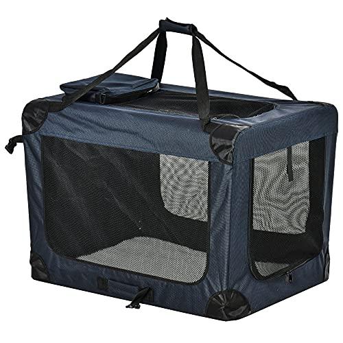 Pawhut Transportín Perro Gato Bolsa de Transporte Portátil y Transpirable para Mascotas Plegable con Cojín 3 Puertas y Ventana de Malla 2 Bolsillos 80,5x57x57 cm Azul Oscuro