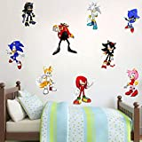 TUWUNA Sonic The Hedgehog Stickers Children's Cartoon Bedroom Background Wall Decoration Self-Adhesive Wall Sticker for Party Decorations,Party Decal for Kids Party Favors