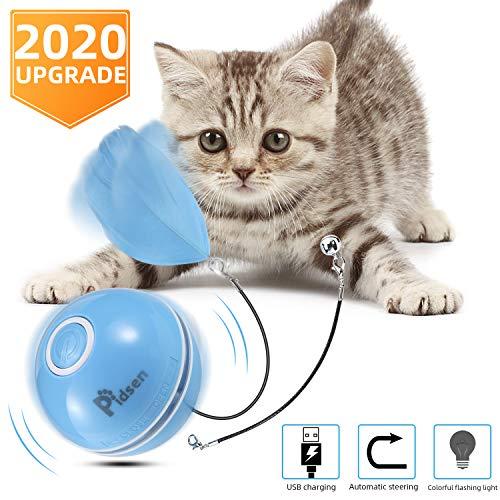 Pidsen Spielzeug für Katzen, Bälle mit Katze, interaktives Spielzeug für Katzen, USB-Ladefunktion, automatisch, 360 Grad elektrisch, mit LED-Licht für Haustiere, Katzen