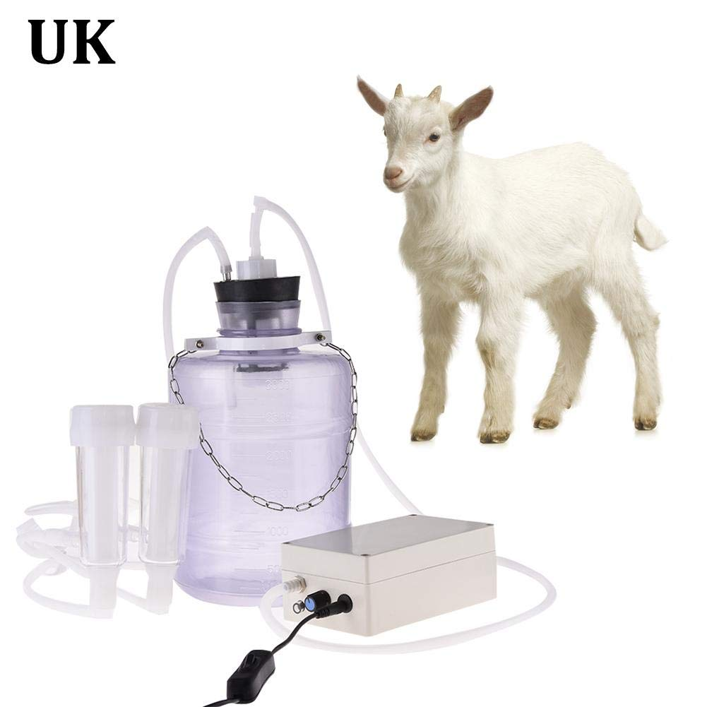 Electric Milking Machine 2L Portable Cattle Cow Milking Machine Impulse Goat Sheep Ewes Milker Milking Kit Breast Pump with 2 Pumps for Home Small-scalefarm Cow