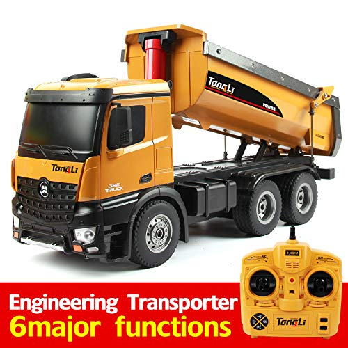 TongLi 573 1:14 Scale RC Dump Truck Toy for Adults and Kids Construction Trucks Remote Control Outdoor Toys 2.4Ghz Powerful Upgraded with LED Lights and Simulation Sound