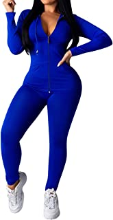 Remxi 2 Piece Outfits for Women - Casual Long Sleeve Solid Color Full Zip Jacket Hoodie Tops Bodycon Long Pants Tracksuits