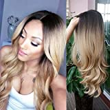 HANNE Long Hair Wavy Synthetic Hair Ombre Blonde Wigs...