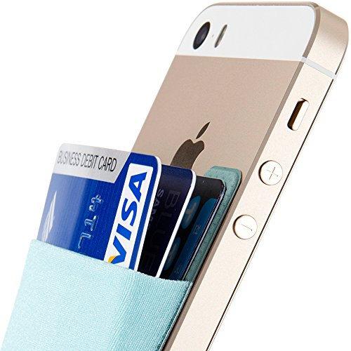 Sinjimoru Card Holder for Back of Phone, Stick on Wallet Functioning as Card Sleeves, Cell Phone Credit Card Holder, Minimallist Wallet Sticker for iPhone. Sinji Pouch Basic 2, Light Blue