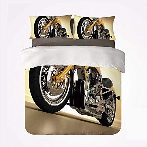 Yoyon Bettbezug-Set Motorrad Langlebiges 3-Bett-Set, Eisen Custom Aesthetic Hobby Motorrad Futuristische Moderne Spiegel Reitthema für den Innenbereich