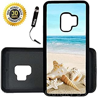 Custom Galaxy S9 Case (Ocean Theme Starfish And Seashell On Beach) Edge-to-Edge Rubber Black Cover Ultra Slim | Lightweight | Includes Stylus Pen by Innosub