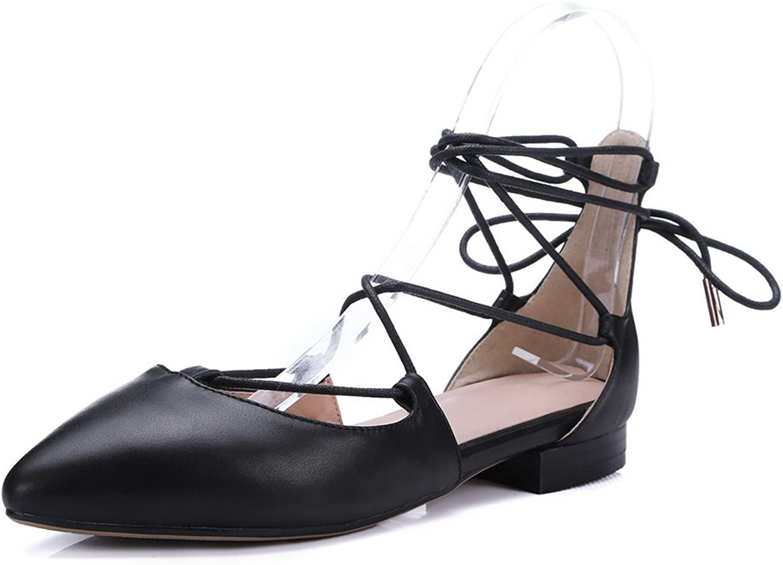 BalaMasa Ladies Hollow Out Leopard Pattern Romanesque Lace-up Closure Cow Leather Pumps-shoes