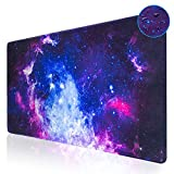 Large Gaming Mouse Pad,Aupek XXL Extended Keyboard and Mouse Pad (31.5x15.7 inch),Desk Mousepad Computer Keyboard Mat with Stitched Edges for Gamer,Non-Slip Base, Water-Resistant,Office & Home,Galaxy