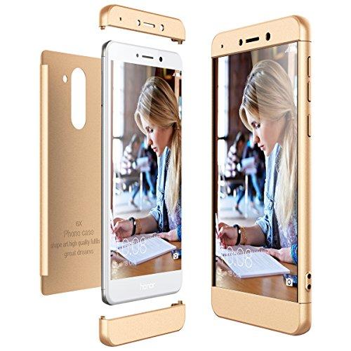 CE-Link für Huawei Honor 6X Hülle Hardcase 3 in 1 Ultra Dünn 360 Full Body Schutz Schutzhülle Anti-Kratzer Elegant Stoßfest Hart PC Skin Rückdeckel Glatte Rückseite Bumper Handyhülle - Gold