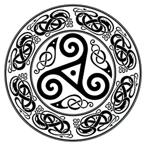 Dragon 6 Sheets Temporary Tattoos For Men Adults Round Celtic Design Triskele and Celtic Isolated on White Illu Temporary tattoo For Women Neck Arm Chest For Woman 3.7 X 3.7 Inch
