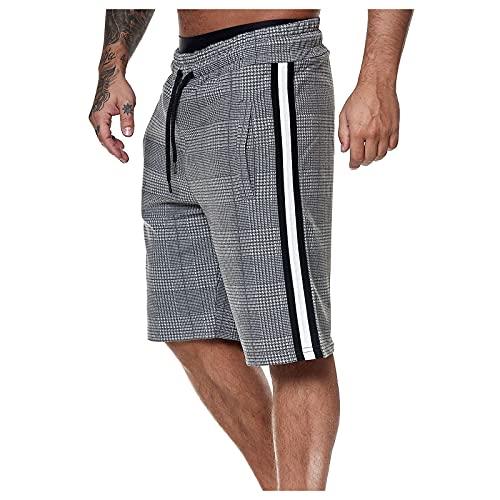 Zainafacai Men's Shorts, Men's Cargo Shorts Men's Elastic Waist Pockets Short Lightweight Drawstring Casual Short Pants White