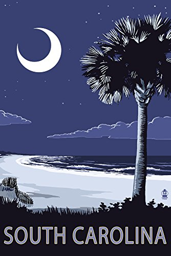South Carolina - Palmetto Moon (12x18 Art Print, Wall Decor Travel Poster)