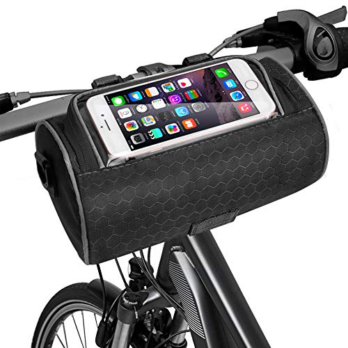 EliveSpm Borsa per Manubrio Bici, Custodia per Telefono Impermeabile Anteriore per Bicicletta con Tracolla Rimovibile e Custodia Trasparente toccabile, per Bici da Strada, Mountain Bike (Nero)