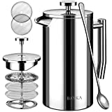 BAYKA French Press Coffee Maker, Stainless Steel 34oz Double-Wall Metal Insulated Coffee Tea Makers with 4 Level Filtration System, Rust-Free, Dishwasher Safe