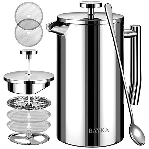 Camping Essential 34 Oz Coffee Cold Brewer Top Quality Stainless Steel Press with Companion Glass /&Portable Stainless Steel Travel Jar A Kitchen Hello Cucina French Press Coffee Maker 1-Pack