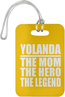 Yolanda The Mom The Hero The Legend - Luggage Tag Bag-gage Suitcase Tag Durable - Mother Mom from Daughter Son Kid Wife Athletic Gold Birthday Anniversary Christmas Thanksgiving