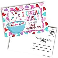 AmandaCreation I Love You Breakfast シリアルテーマ ハッピーバレンタインデー空白ポストカード 友人や家族へ送る 4x6インチ ノートカード (20)