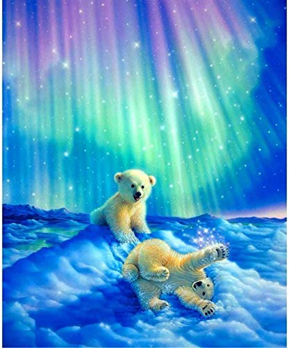 Diy 5D Diamond Painting Cristal Pintura Bricolaje Rhinestone Bordado De Punto Cruz Artes Redondos Diamantes Oso Polar Aurora Manualidades Lienzo Pared Decoración 30X40Cm