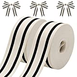 2 Rolls Natural Cotton Stripes Ribbon Striped Grosgrain Ribbon Striped Cotton Fabric Ribbon Grosgrain Decorative Wrapping Ribbon for DIY Crafts Home Decoration, 16 Yards (Black, 2.6 cm)