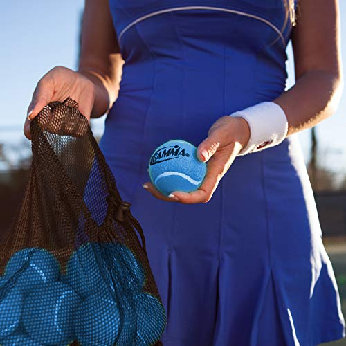 Gamma Bag of Pressureless Tennis Balls - 12 or 18 Count, 4 Colors Available, Sturdy & Reuseable Mesh Bag with Drawstring for Easy Transport - Bag-O-Balls for All Court Types, Premium Performance