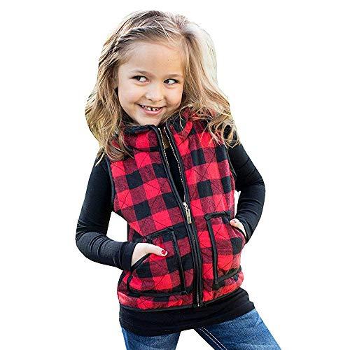Dasongff Kindervest voor baby en peuters, geruit vest, ademend vest voor jongens en meisjes, met ritssluiting, mouwloos outwear jack 110 rood