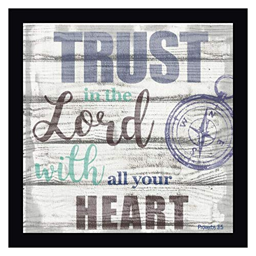 """Trust in The Lord -2 by Taylor Greene 24"""" x 24"""" Black Framed Canvas Giclee Art Print - Ready to Hang"""