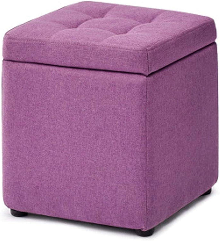 Ailj Footstool, Home Solid Wood Cotton Storage Stool Living Room Bedroom Sofa Square Stool 30  30  35 cm 3 colors (color   Purple)