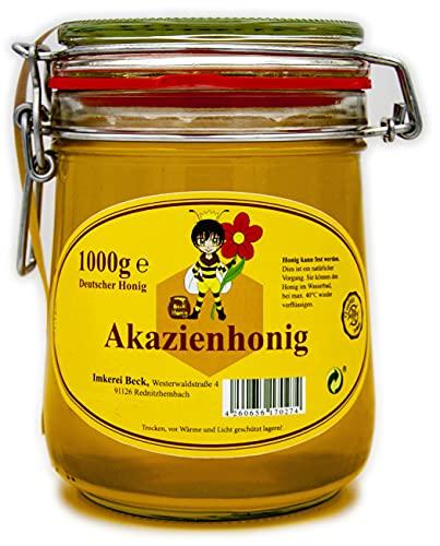 ImkereiBeck® - Echter Deutscher Imkerhonig im 1kg / 1000g Honigtopf - Honig vom Imker aus Bayern im wiederverwendbarem hochwertigem Bügelglas (Akazienhonig)