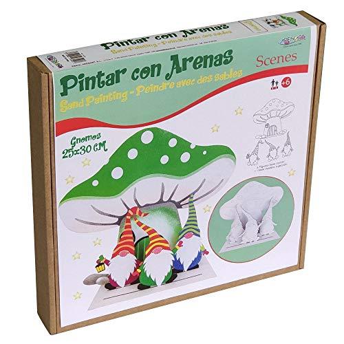 Arenart | Pack 4 Figuras Casita Duendes 25x30 | para Pintar con Arenas de Colores | Manualidades Infantiles | Decoración de Navidad en Familia | Pintar por números | +6 años