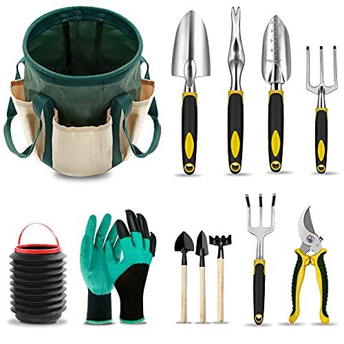 MOYOTEC Garden Tool Set with Bag Heavy Duty Gardening Hand Tools Kit with Ergonomic Handle 12 Piece Garden Storage Organizer Kit Included Garden Gloves Bucket Gardening Gifts for Women Men Gardener