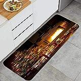 Cocina Antideslizante Alfombras de pie Árbol de Navidad Interno con Chimenea y Caja Decoración de Piso Confortables para el hogar, Fregadero, lavandería-120cm x 45cm