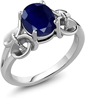 Gem Stone King 925 Sterling Silver Blue Sapphire Women's Ring (2.50 Ct Oval, Gemstone Birthstone, Available 5,6,7,8,9)