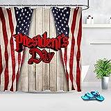 D-M-L Presidente 's Day Cortina de Ducha Set Bandera en la Pared de Madera, Cortina de baño Impermeabilizaciones de Tela de poliéster