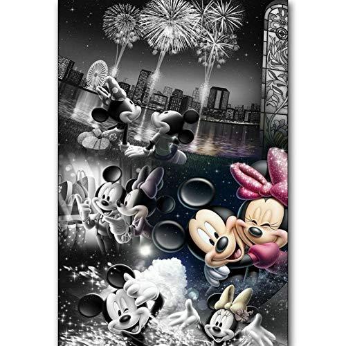 Diy 5D Diamond Schilderij Cartoon Minnie Mickey Mouse Diamond Borduurwerk Mozaïek Huisdecoratie(50x70cm)
